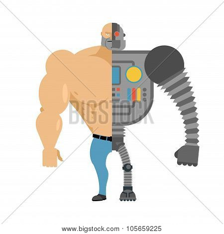 Cyborg. Half Human Half Robot. Man With Big Muscles And Iron Limbs. Cyber-man Of Future.