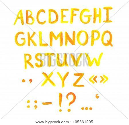Bold yellow abc font with punctuation marks