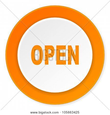 open orange circle 3d modern design flat icon on white background