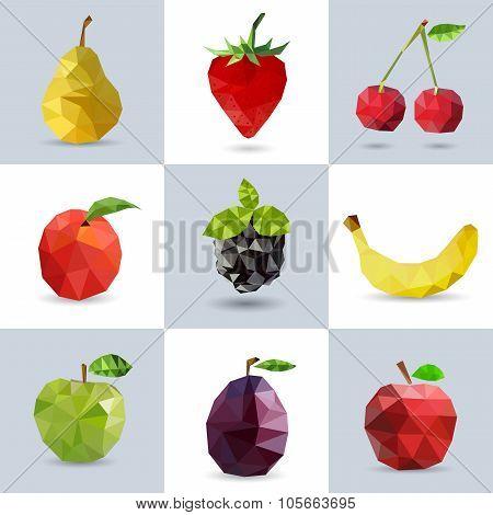 Set of polygonal fruit - pear, strawberry, cherry, peach, banana, apple, plum. Vector il