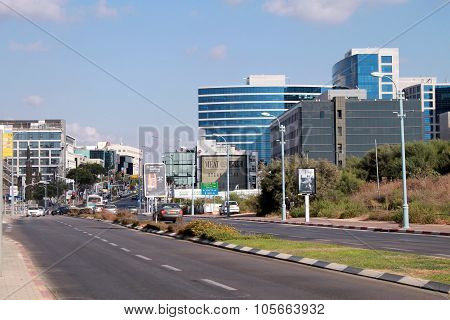Streets And Modern Building In Herzliya, Israel.