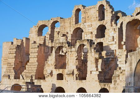 Exterior detail of the El Djem amphitheater in El Djem, Tunisia.