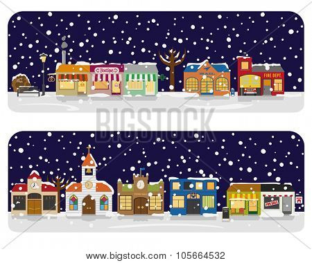 Winter Village Main Street Neighborhood Vector Illustration. Small town main street with shops, church and public buildings in winter. All objects are grouped, text on separate layer.
