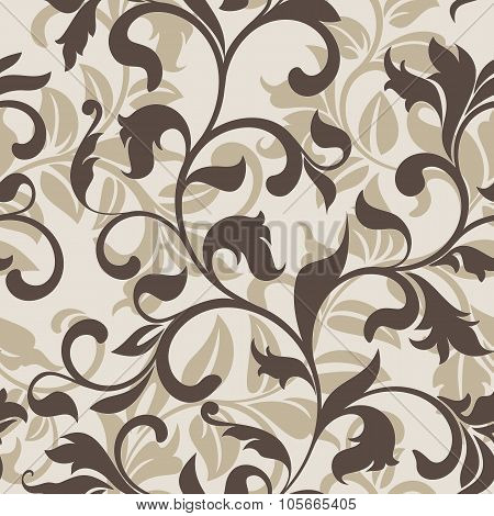 Seamless Pattern With Floral Tracery On A Beige Background