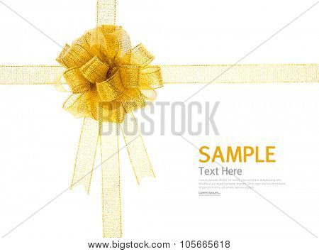 Shiny gold ribbon on white background with copy space.