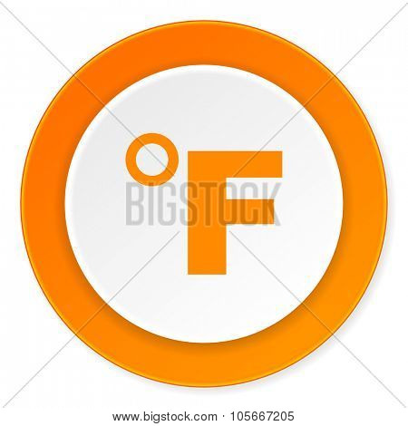 fahrenheit orange circle 3d modern design flat icon on white background