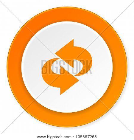 rotation orange circle 3d modern design flat icon on white background