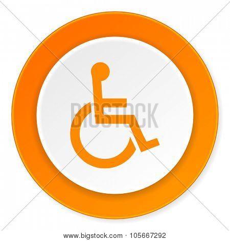 wheelchair orange circle 3d modern design flat icon on white background