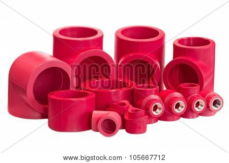 Red Pieces- Set Of Red Drain Pipes