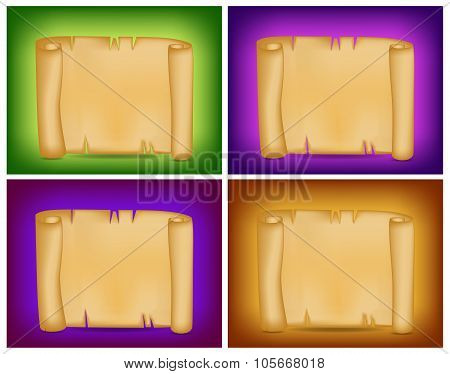 Banner, Card Set With Empty Paper Scroll On Colorful Background. Blank Vector Ancient Scroll Of Parc