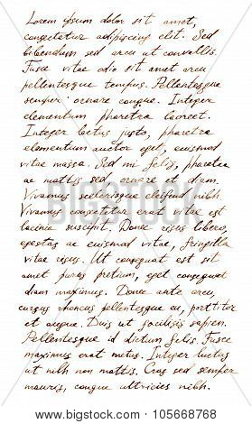 Hand written letter - latin text Lorem ipsum, old style