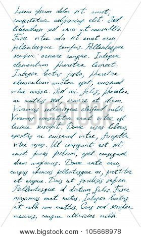 Hand writing page notes - latin text Lorem ipsum
