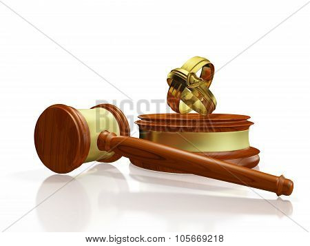 Divorce Concept Gavel And Wedding Bands