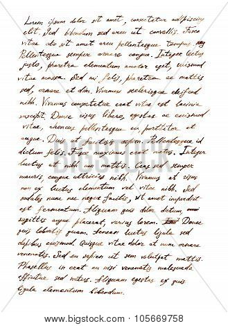 Hand writing letter - latin bible text Lorem ipsum, retro