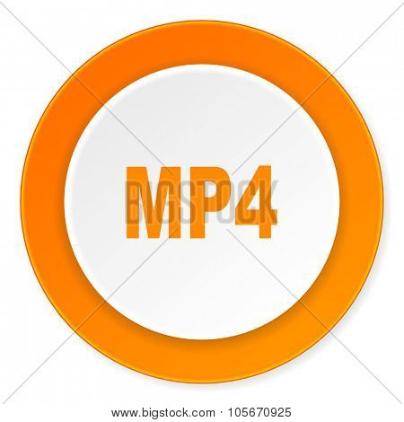 mp4 orange circle 3d modern design flat icon on white background