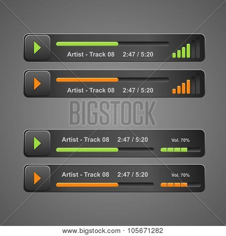 grey audio player, for web