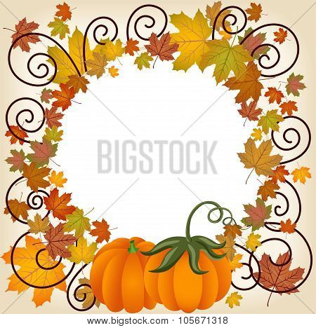 Autumn leaves pumpkin picture frame