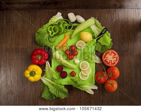 top view of vegetables on wooden background