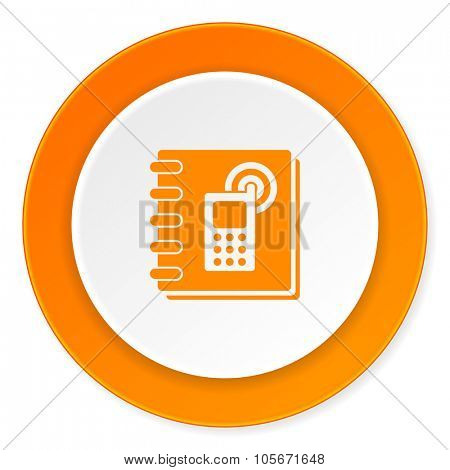 phonebook orange circle 3d modern design flat icon on white background