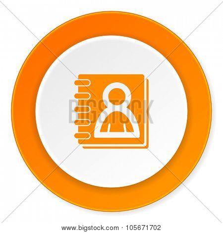 address book orange circle 3d modern design flat icon on white background
