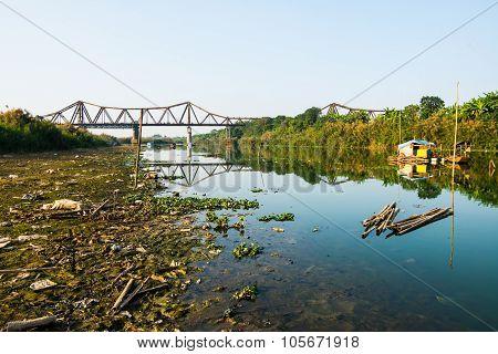 Long Bien bridge in in Hanoi, Vietnam