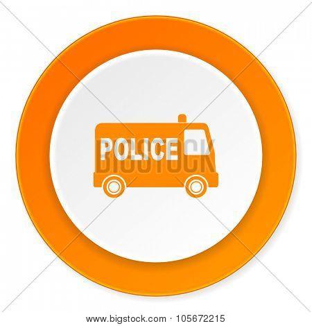 police orange circle 3d modern design flat icon on white background