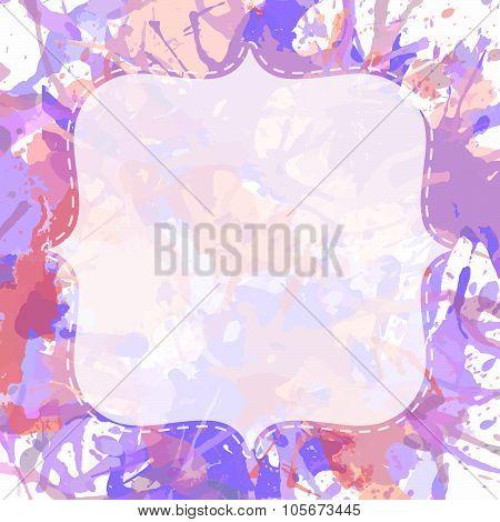 White Frame Over Artistic Paint Splashes