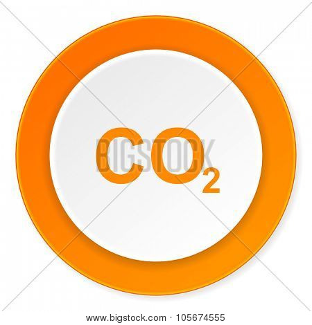 carbon dioxide orange circle 3d modern design flat icon on white background