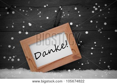 Picture Frame, Danke Means Thank You, Snow, Snowflakes