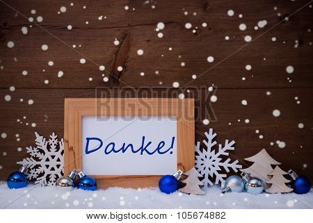Blue Christmas Decoration, Snow, Danke Mean Thanks, Snowflakes