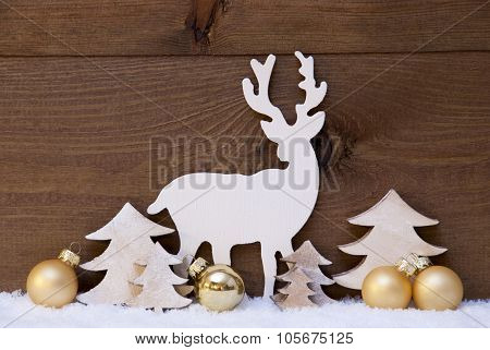 Golden Christmas Decoration, Snow,Tree And Reindeer