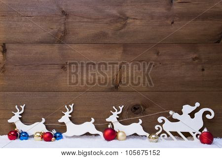 Santa Claus Sled With Reindeers On Snow, Copy Space