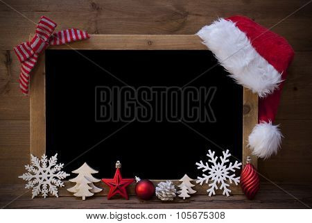 Christmas Blackboard, Santa Hat, Copy Space, Red Loop