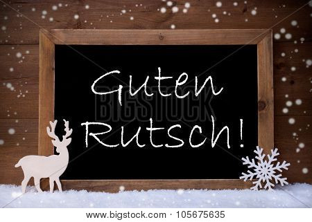 Christmas Card, Blackboard, Guten Rutsch Mean New Year, Snow
