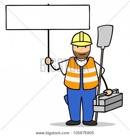 Construction site worker holding up a blank white sign