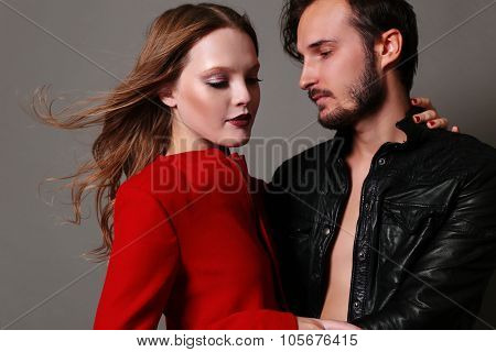 Fashion Studio Photo Of Beautiful Sexy Couple