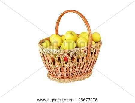 Apple in a wattled basket