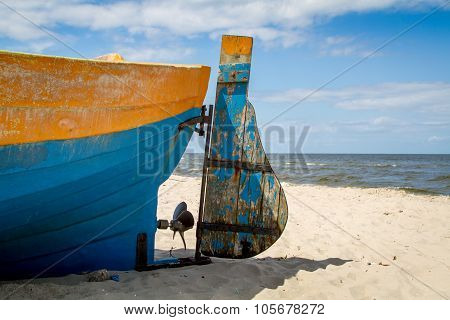 Baltic sea, fragment of boat on beach