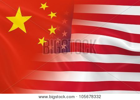 Chinese And American Relations Concept Image - Flags Of China And The United States Fading Together