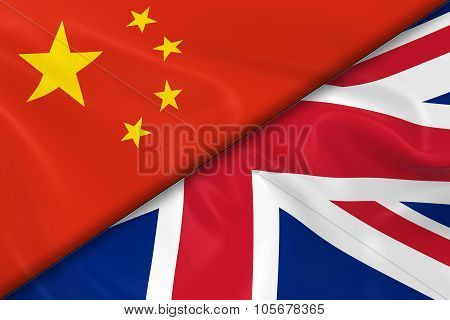 Flags Of China And The United Kingdom Divided Diagonally - 3D Render Of The Chinese Flag And Uk Flag