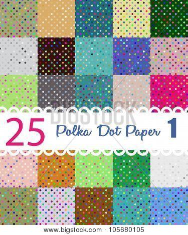 Polka dot paper. Set of 25 seamess patterns