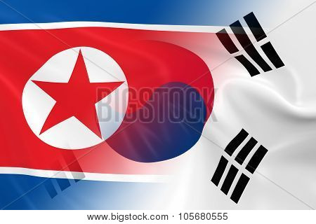 North Korean And South Korean Relations Concept Image - Flags Of North Korea And South Korea Fading