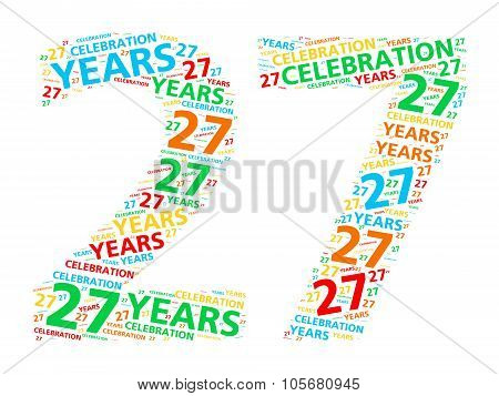 Colorful word cloud for celebrating a 27 year birthday or anniversary