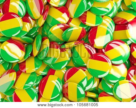 Background With Round Pins With Flag Of Mali