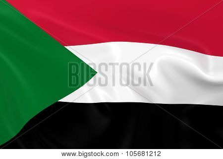 Waving Flag Of Sudan - 3D Render Of The Sudanese Flag With Silky Texture