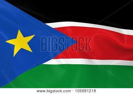 Waving Flag Of South Sudan - 3D Render Of The South Sudanese Flag With Silky Texture