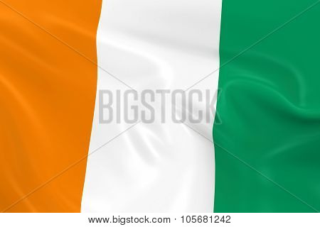 Waving Flag Of The Ivory Coast - 3D Render Of The Ivorian Flag With Silky Texture