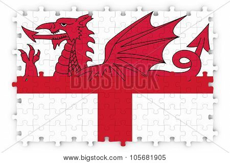 English And Welsh Relations Concept Image - Flags Of England And Wales Jigsaw Puzzle