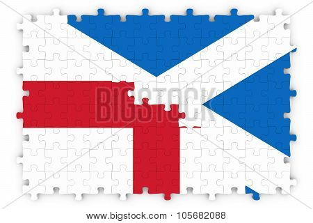 English And Scottish Relations Concept Image - Flags Of England And Scotland Jigsaw Puzzle