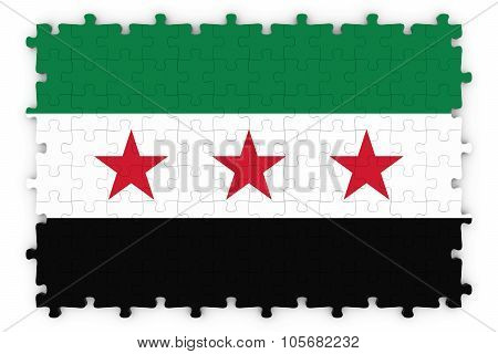 Syria Opposition Flag Jigsaw Puzzle - Flag Of The Syrian Opposition Puzzle Isolated On White